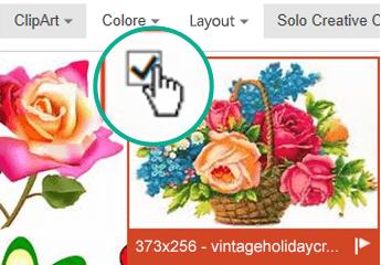 Selezionare l'anteprima dell'immagine da inserire. Un segno di spunta viene visualizzato nell'angolo in alto a sinistra.