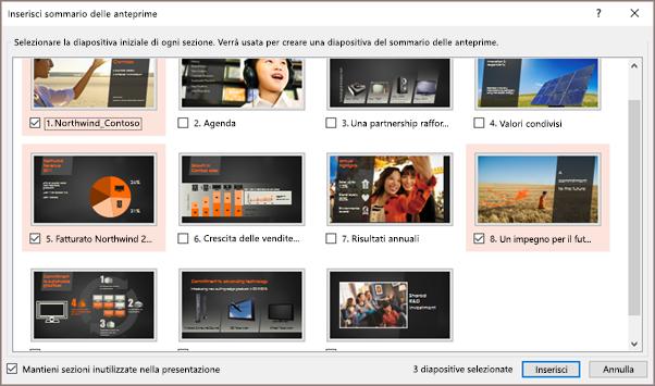 Finestra di dialogo Inserisci sommario delle anteprime in PowerPoint con sezioni selezionate.
