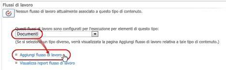 Aggiungere un comando di flusso di lavoro con il tipo di contenuto Documento selezionato