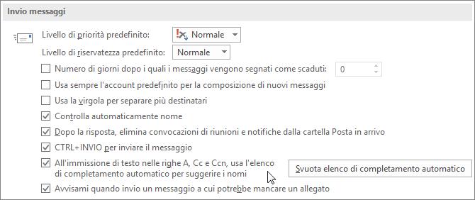 Scegliere File, Opzioni, Posta e quindi in Invio messaggi deselezionare la casella di controllo Elenco completamento automatico.