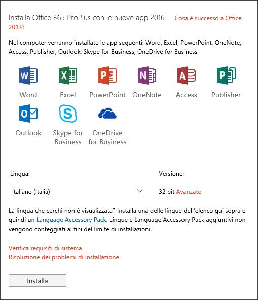 Se è disponibile un'opzione, selezionare la versione di Office da installare, scegliere una lingua e quindi fare clic su Installa.