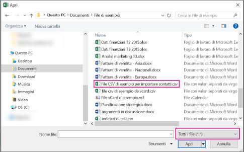 Per trovare i file CSV, impostare la ricerca su Tutti i file.