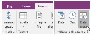 Screenshot del pulsante Data e ora in OneNote 2016.