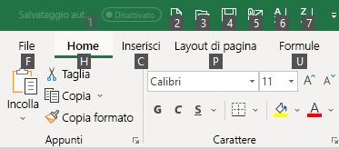 Suggerimenti tasto di scelta nella barra multifunzione di Excel