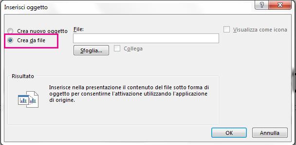 """La finestra di dialogo Inserisci oggetto con l'opzione """"Crea da file"""" selezionata"""