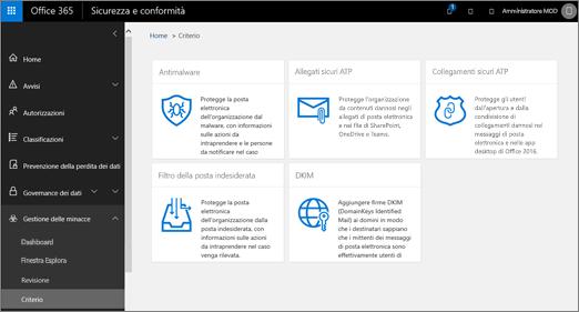 Nel Centro sicurezza e conformità scegliere Gestione delle minacce > Criteri