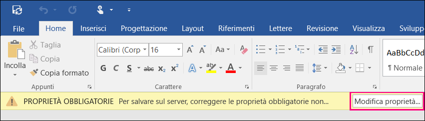 Pulsante Modifica proprietà sulla barra di notifica