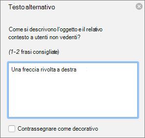 Finestra di dialogo di Excel 365 scrivere Alt testo per le forme