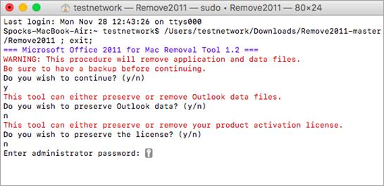 Eseguire lo strumento Remove2011 usando CTRL+clic per aprire.