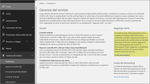 Screenshot del dashboard Qualità del servizio del Centro sicurezza e conformità di Office 365, che include informazioni sulle nuove caratteristiche, oltre a collegamenti alla procedura di aggiunta utenti e alla guida introduttiva.