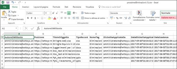Dati esportati della disposizione in Excel