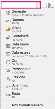 Casella Formati numerici