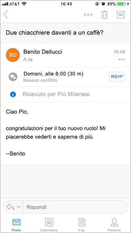 Screenshot di schermata di dispositivo mobile con elemento di posta elettronica.