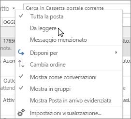 Lo screenshot mostra l'opzione Da leggere selezionata nel menu a discesa Tutto sulla barra multifunzione della posta in arrivo.