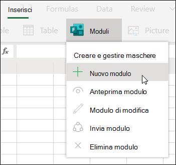 Opzione per l'inserimento di un nuovo modulo in Excel Online