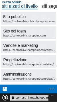 Siti alzati di livello in SharePoint Online in un dispositivo mobile