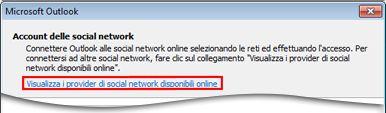 Collegarsi alla pagina del provider di Outlook Social Connector