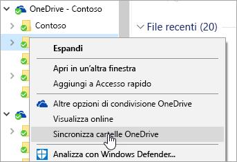 """Screenshot del menu di scelta rapida in Esplora file con """"Sincronizza cartelle OneDrive"""" selezionato."""
