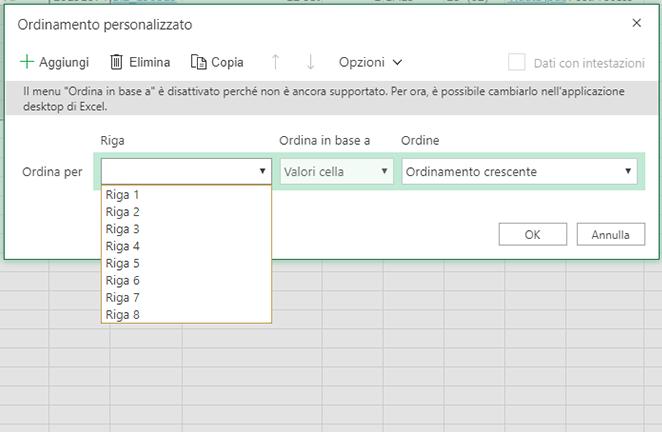 Visualizzare le righe in base a cui l'utente può eseguire l'ordinamento