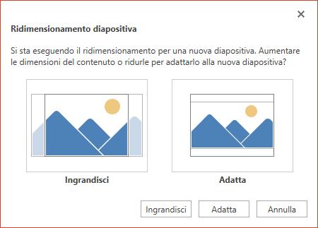 Selezionare Ingrandisci per sfruttare tutto lo spazio disponibile oppure Adatta per assicurarsi che tutto il contenuto sia visibile nella pagina verticale.