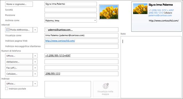Parzialmente compilato nella scheda contatto di Outlook
