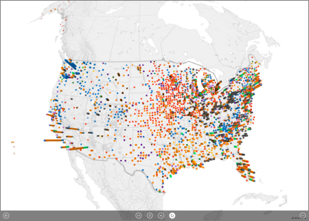Tour di Power Map impostato sulla riproduzione