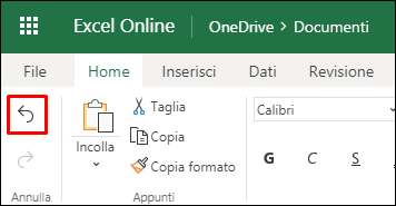 Per annullare un ordinamento precedente, usare il pulsante Annulla nella scheda Home di Excel per il Web.
