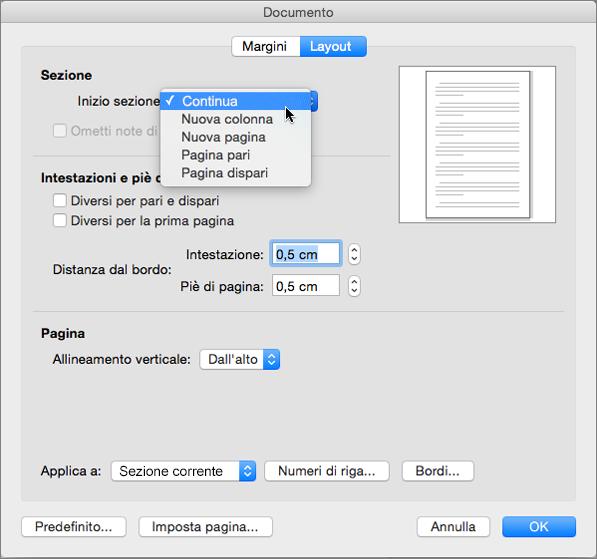 La finestra di dialogo del documento contenente le impostazioni per gestire sezioni, intestazioni e piè di pagina