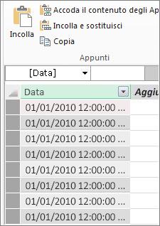 Tabella data in Power Pivot