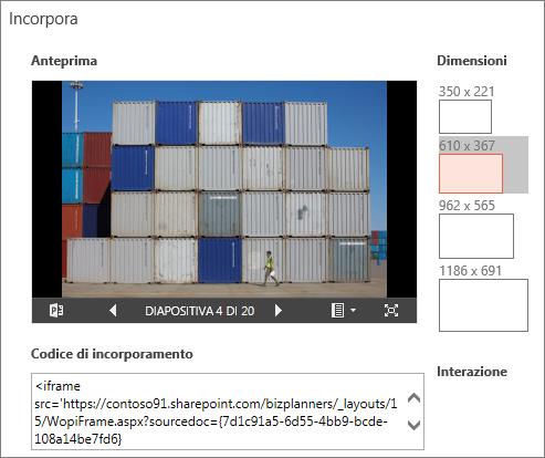 Modifica delle dimensioni della presentazione di PowerPoint incorporata