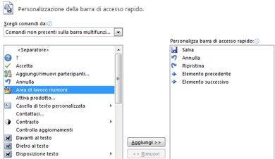 Personalizzare la barra di accesso rapido aggiungendo comandi