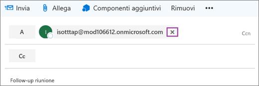 Screenshot che mostra la riga A del messaggio di posta elettronica con l'opzione per eliminare l'indirizzo di posta elettronica del destinatario.