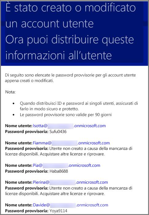 Esempio di messaggio di posta elettronica con informazioni sulle credenziali utente