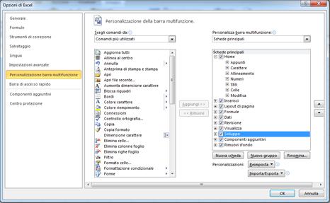 personalizzazione della barra multifunzione