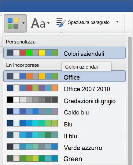Colori del tema personalizzato Word