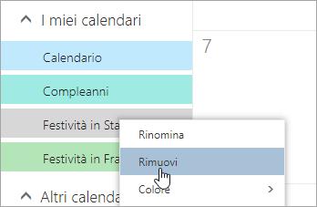 Screenshot dell'opzione Rimuovi calendario