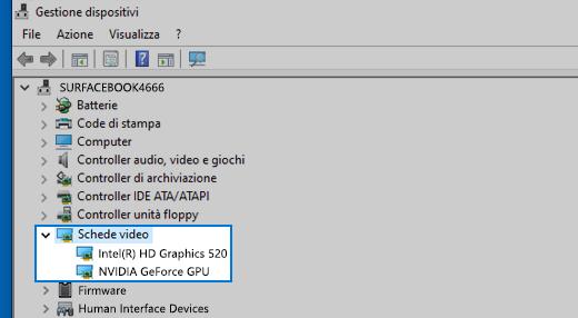 Gestione dispositivi e schede video