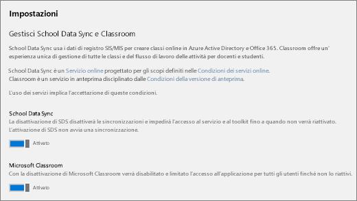 Screenshot Impostazioni di School Data Sync per attivare o disattivare School Data Sync.