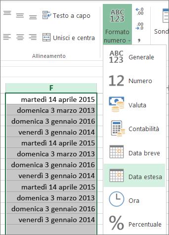 pulsante sulla barra multifunzione per la conversione nel formato data estesa