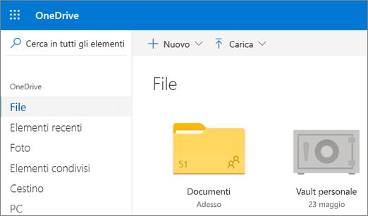 Screenshot della cartella Vault personale visualizzata nella visualizzazione File di OneDrive sul Web