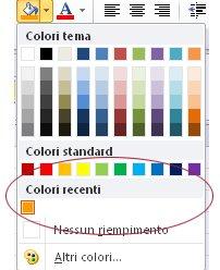 opzione colori recenti