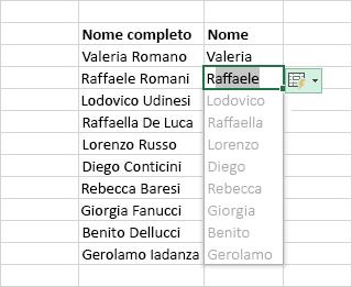 Uso di Anteprima suggerimenti per compilare una colonna di dati