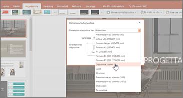 Presentazione con la finestra di dialogo Dimensioni diapositiva in primo piano