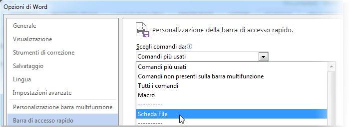 Personalizzare la barra di accesso rapido aggiungendo comandi della scheda File