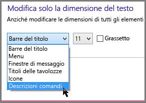 Impostazioni del formato delle descrizioni comandi di Windows 8
