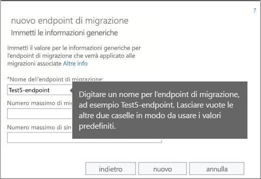 Nome dell'endpoint di migrazione