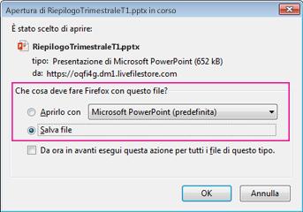 Che cosa deve fare Firefox con questo file?