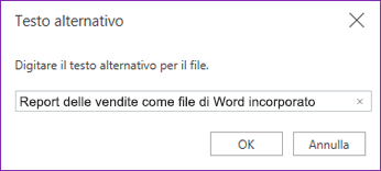 Aggiungere testo alternativo a file incorporati in OneNote Online
