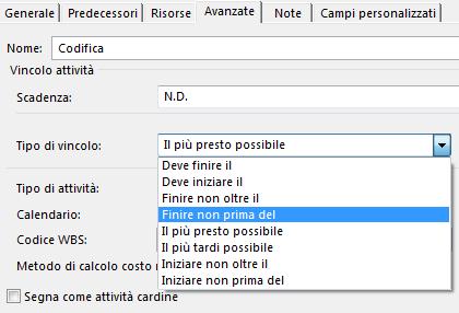Finestra di dialogo Informazioni attività, menu Tipo vincolo