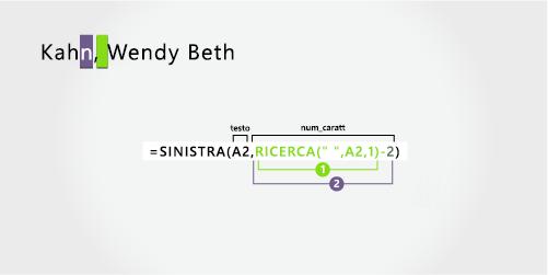 Formula per separare un cognome seguito da un nome e da un secondo nome